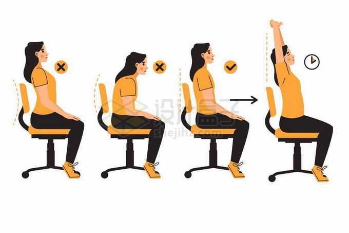 正确和错误的坐姿校正以及拉伸动作手绘插画8254808矢量图片免抠素材