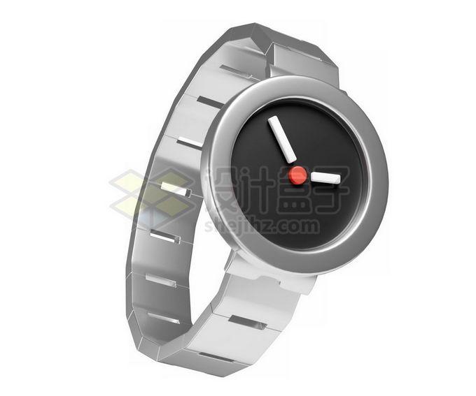 3D立体风格金属银灰色的手表模型8873638免抠图片素材 生活素材-第1张