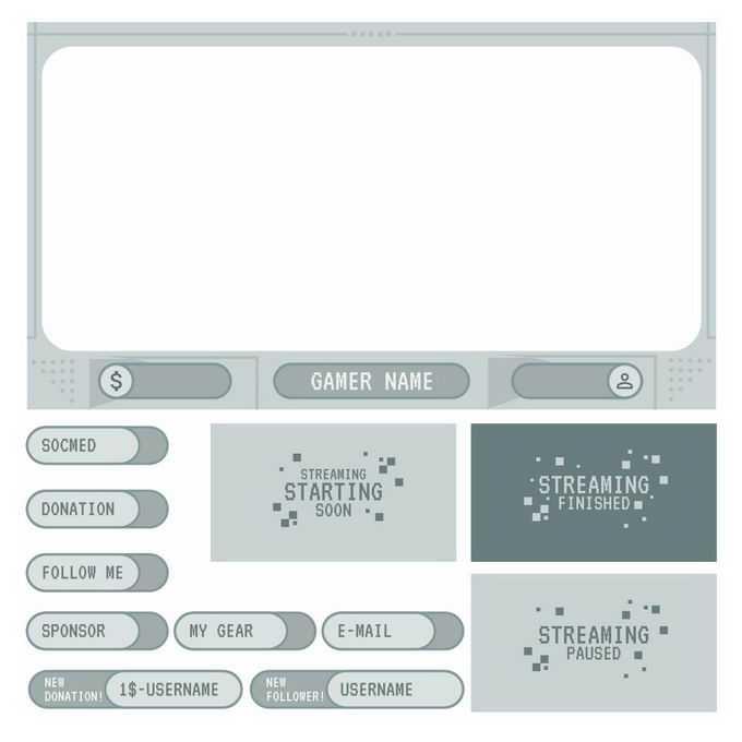 各种复古风格的游戏机界面设计元素游戏按钮8044970图片免抠素材免费下载