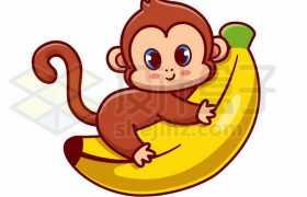 超可爱卡通小猴子抱着香蕉6239134矢量图片免抠素材免费下载
