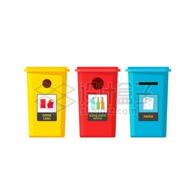黄色红色蓝色的垃圾分类垃圾桶废金属垃圾玻璃塑料垃圾废纸张垃圾4878859矢量图片免抠素材