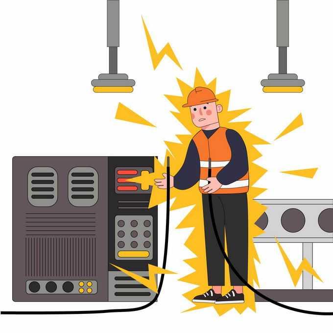 工厂里电力故障当心触电安全生产宣传插画6311615矢量图片素材