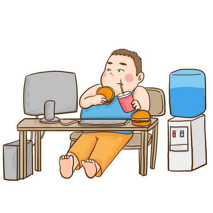 卡通小胖子宅男瘫坐在椅子上一边玩电脑一边吃垃圾食品和喝水插画6203364图片免抠素材免费下载 休闲娱乐-第1张