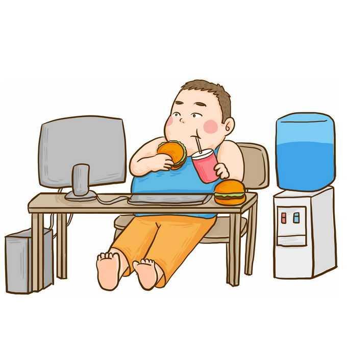 卡通小胖子宅男瘫坐在椅子上一边玩电脑一边吃垃圾食品和喝水插画6203364图片免抠素材免费下载