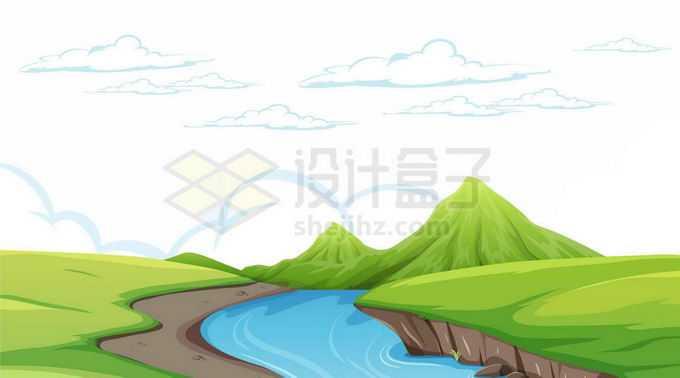 远处的青山和近处的小溪以及两岸的草原卡通风景图5203814矢量图片免抠素材免费下载
