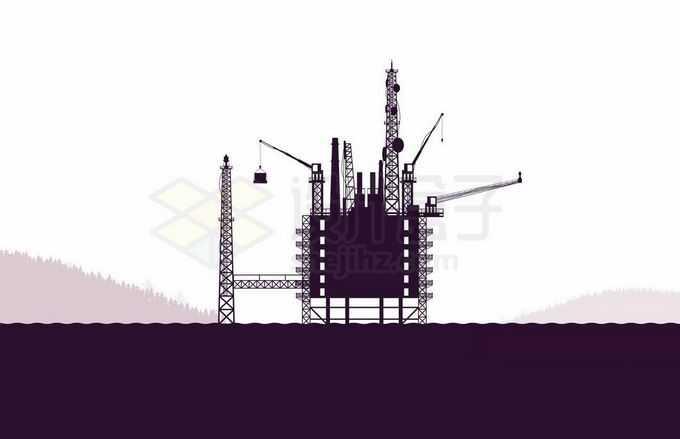 海上钻井平台石油开采工业剪影5228319矢量图片免抠素材免费下载