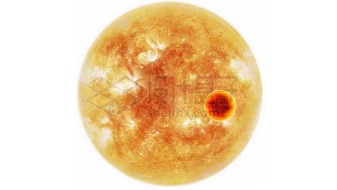 黄色恒星前面的热木星系外行星png免抠高清图片素材 科学地理-第1张