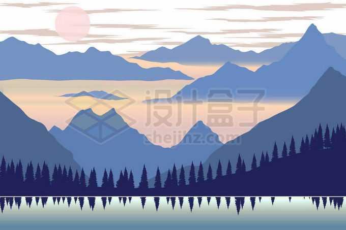 远处的高山群山和云海以及近处的森林剪影和湖泊水面倒影风景8023365矢量图片免抠素材免费下载