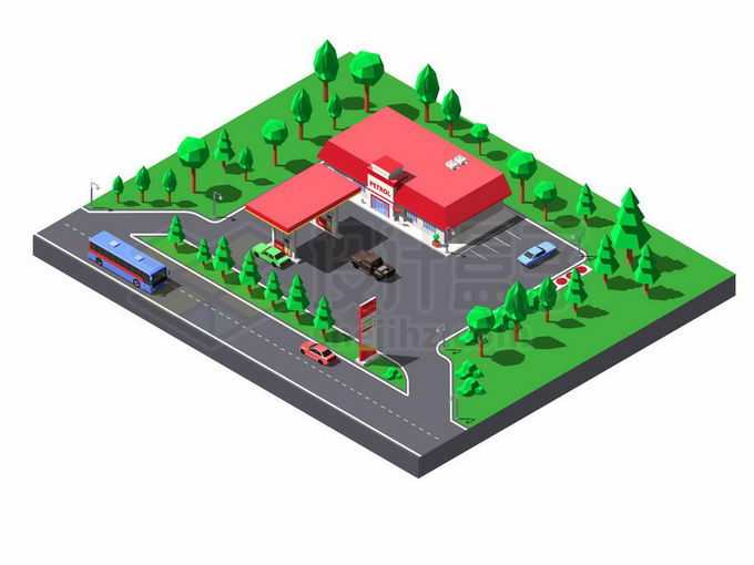 2.5D风格公路边上的加油站1079348矢量图片免抠素材免费下载