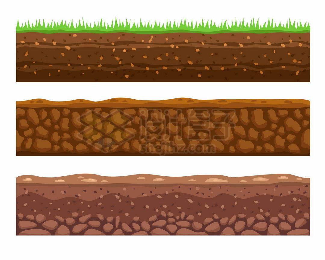 3款土地土壤剖面图9086188矢量图片免抠素材