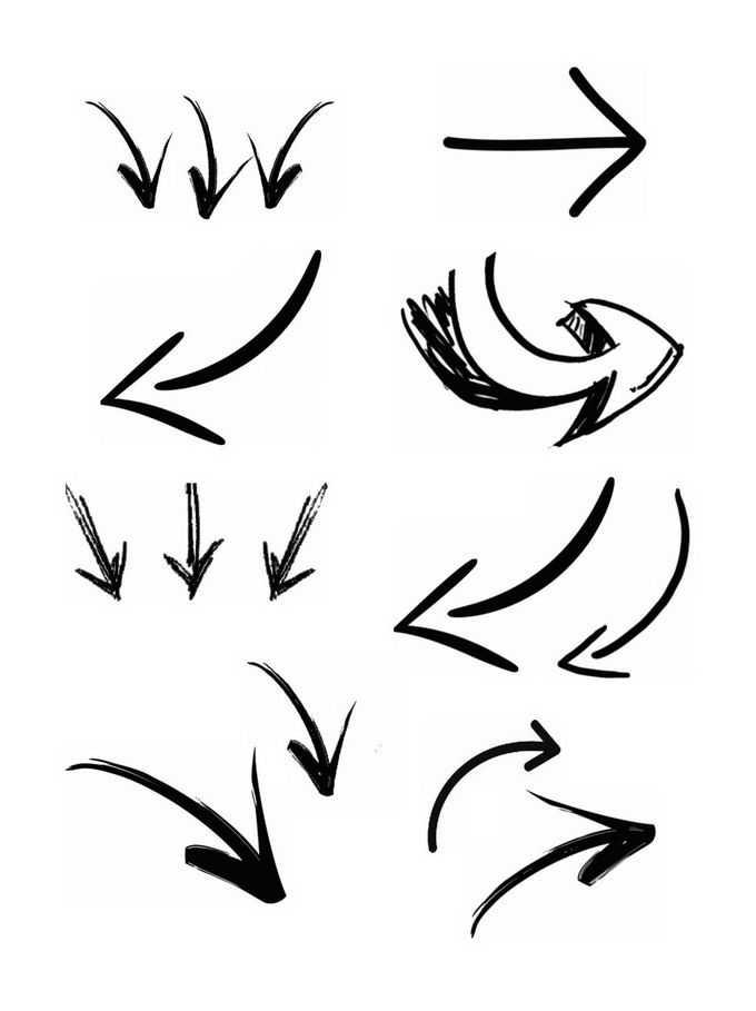 8款手绘涂鸦风格黑色线条方向箭头4640848图片免抠素材免费下载