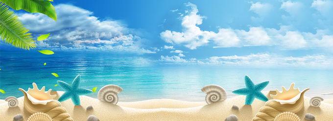 蓝天白云蔚蓝色的大海和沙滩上的各种贝壳海星横版背景图5595616免抠图片素材 背景-第1张