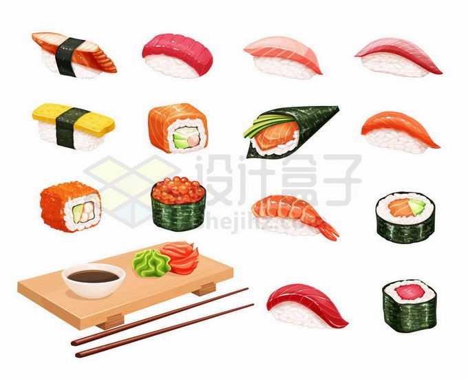 握寿司手卷寿司军舰寿司姿寿司押寿司里卷寿司等美味寿司日食美食6726879矢量图片免抠素材