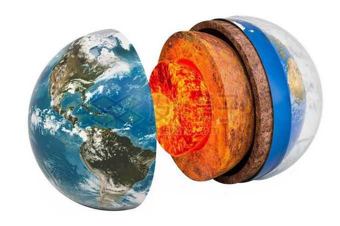 分离的地球内部结构地壳地幔地核大气层5338556png免抠图片素材