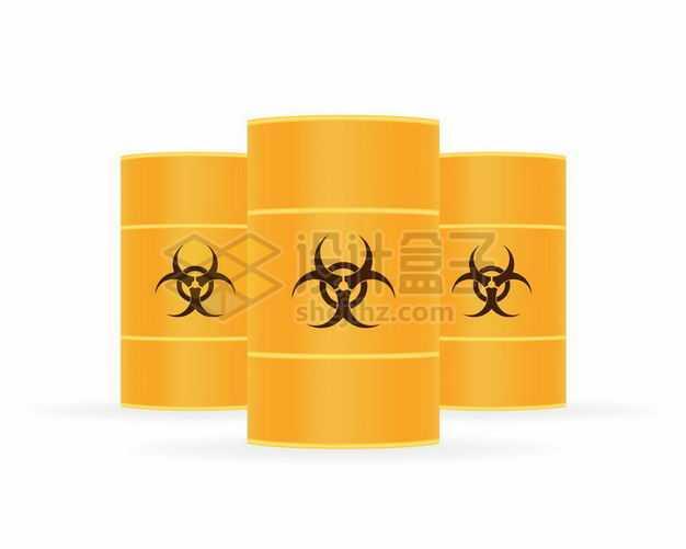 3个黄色化工桶印着危险化学品标志5354792矢量图片免抠素材