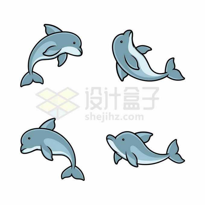 4款卡通海豚海洋哺乳动物7803133矢量图片免抠素材