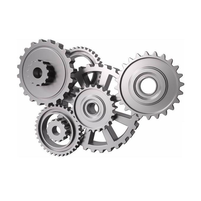 3D立体风格银灰色金属风格环环相扣的齿轮5735675矢量图片免抠素材 工业农业-第1张
