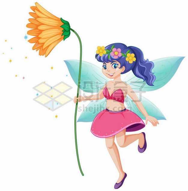 拿着一朵花朵的花仙子卡通仙女4802860矢量图片免抠素材