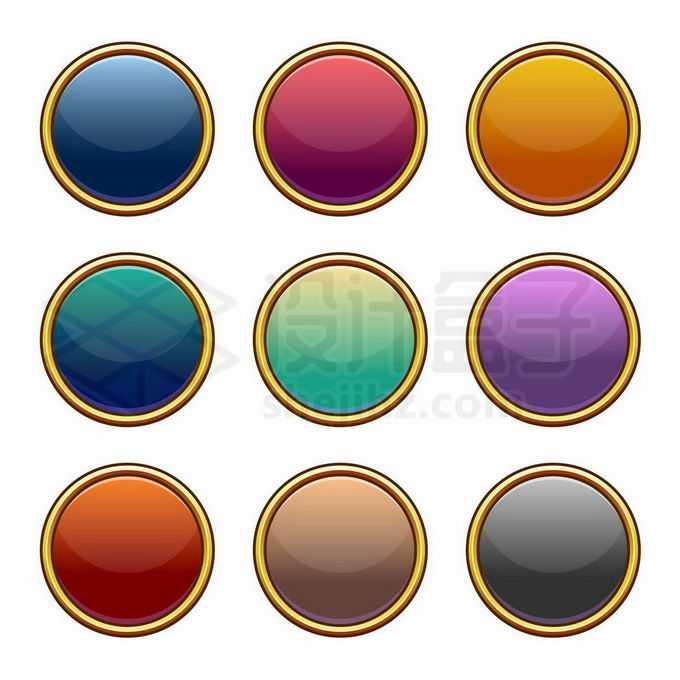 9款金边装饰的圆形水晶按钮玻璃按钮网页按钮6064001矢量图片免抠素材免费下载