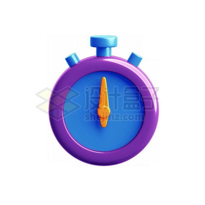 3D立体风格紫色蓝色秒表模型3322546免抠图片素材 生活素材-第1张