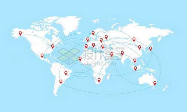 白色世界地图上轨迹图象征了环球旅行或全球贸易网络插画4895963矢量图片免抠素材
