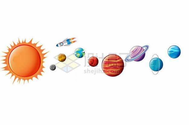 卡通太阳系八大行星天体和小火箭5837246矢量图片免抠素材