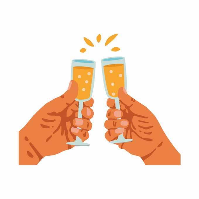 两只手拿着酒杯碰杯庆祝插画1519212矢量图片素材
