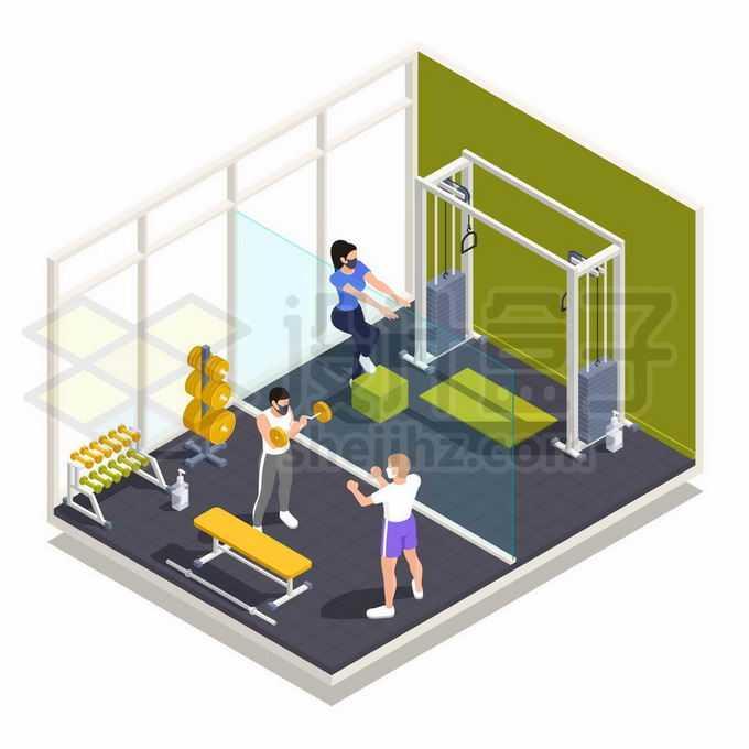 2.5D风格在健身房中锻炼身体的人们6725123矢量图片免抠素材免费下载