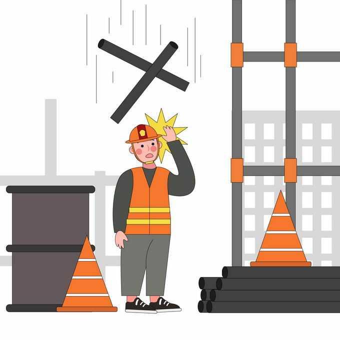 建筑工地上当心高空坠物安全生产宣传插画8130677矢量图片素材
