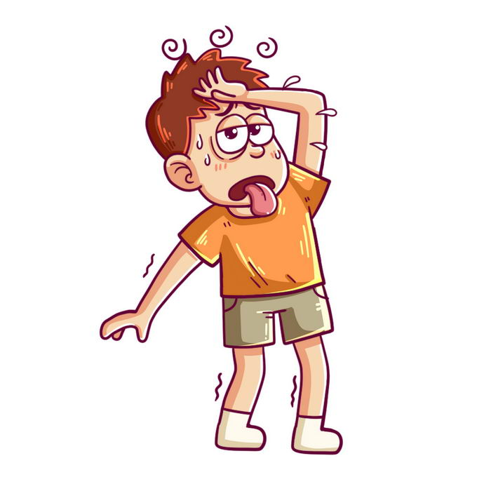 夏天高温天气下热得头晕的卡通年轻人中暑迹象5389826图片免抠素材免费下载 人物素材-第1张