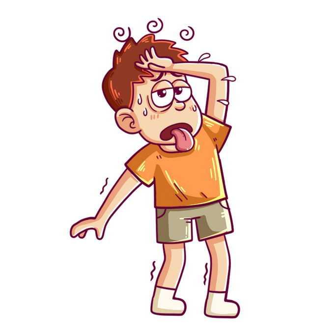 夏天高温天气下热得头晕的卡通年轻人中暑迹象5389826图片免抠素材免费下载