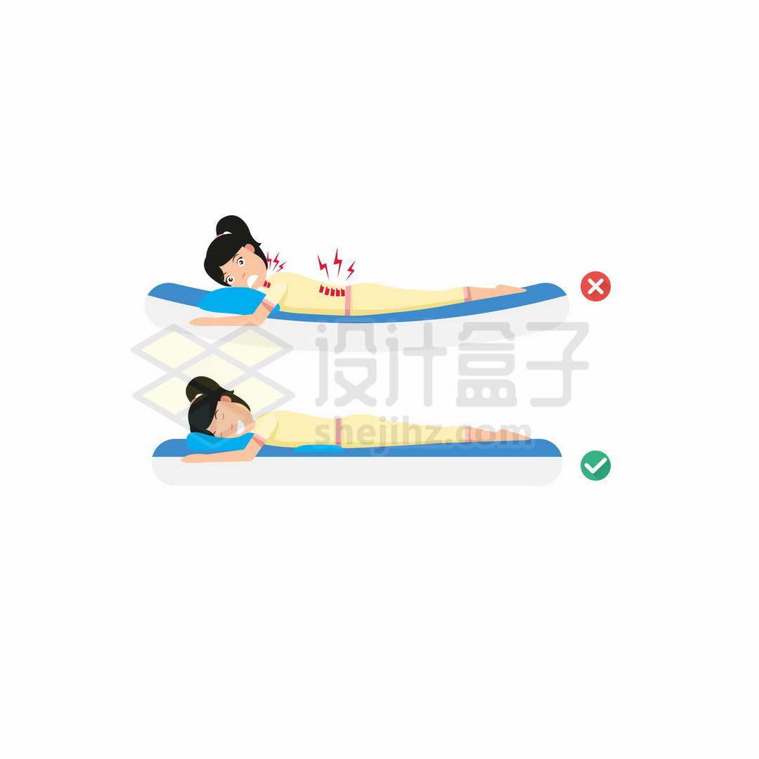 女生睡软床的危害和硬板床的好处正确和错误趴着睡觉的睡姿对比3438260矢量图片免抠素材