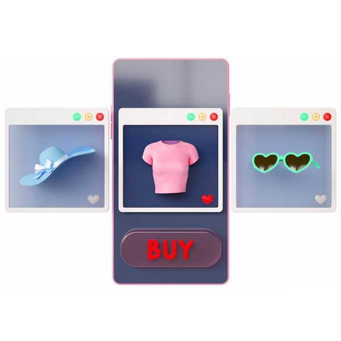 3D立体风格手机购物在手机上选购商品7995498矢量图片免抠素材