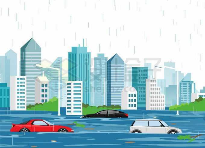 暴雨过后被洪水包围的城市以及被淹没的汽车水泡车7358167矢量图片免抠素材免费下载