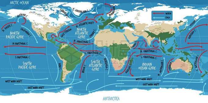 地球洋流暖流寒流示意图世界地图7491739矢量图片免抠素材免费下载