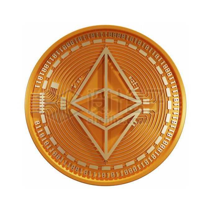 3D立体风格金色金属以太币硬币金币4785617免抠图片素材