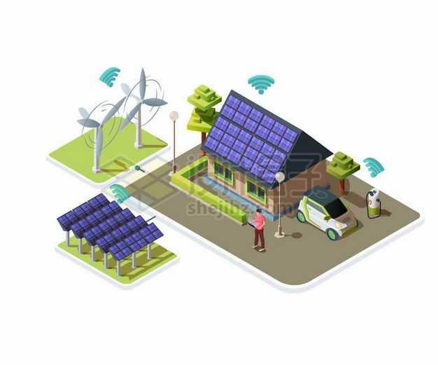 2.5D风格风力发电机太阳能发电智能家居等绿色能源应用5780653矢量图片免抠素材