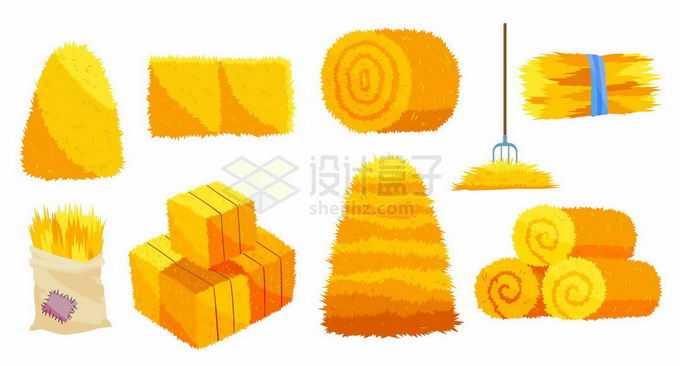 秋收季节各种金黄色的草垛草堆稻草6837306矢量图片免抠素材免费下载