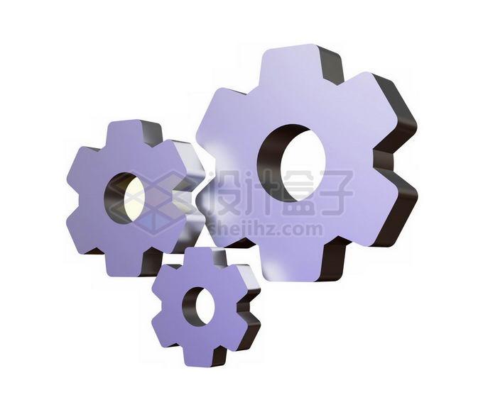 3D立体风格淡紫色机械齿轮7184183免抠图片素材 工业农业-第1张