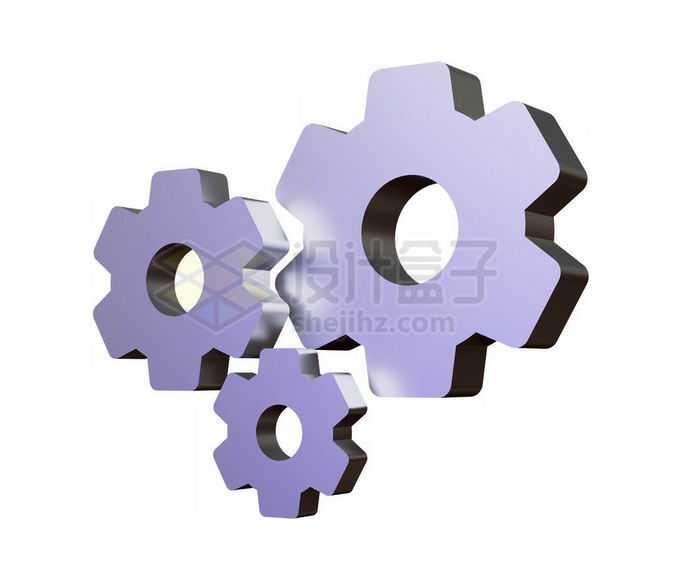 3D立体风格淡紫色机械齿轮7184183免抠图片素材