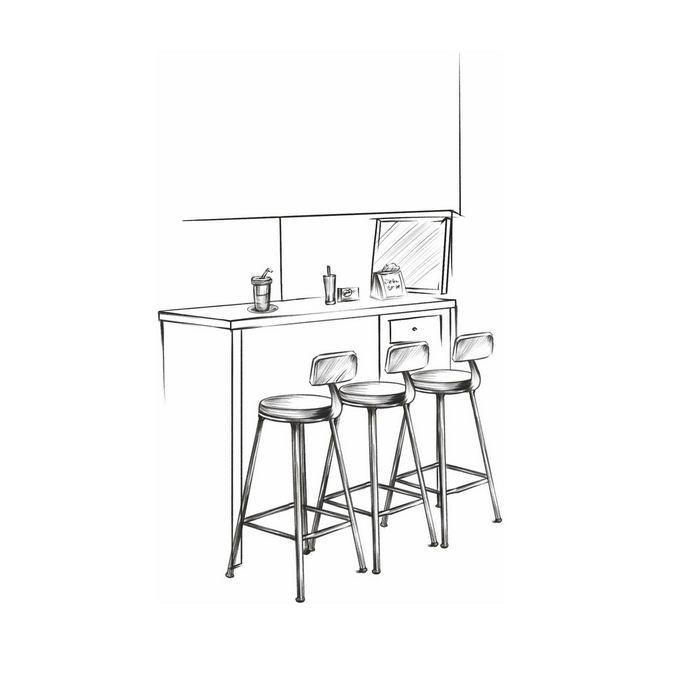 酒吧吧台和座椅手绘线条涂鸦插画2596580图片免抠素材免费下载 插画-第1张