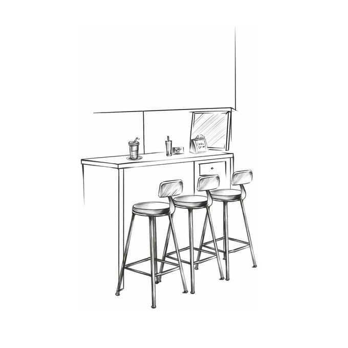 酒吧吧台和座椅手绘线条涂鸦插画2596580图片免抠素材免费下载