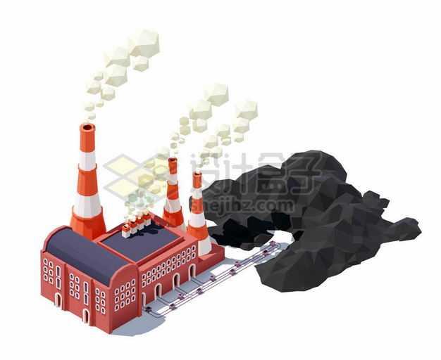2.5D风格燃煤发电厂工厂厂房9915994矢量图片免抠素材