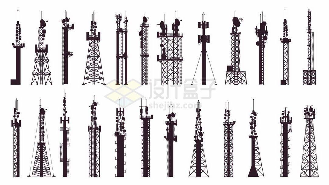 24款黑色的移动信号发射塔铁塔剪影图案9972320矢量图片免抠素材