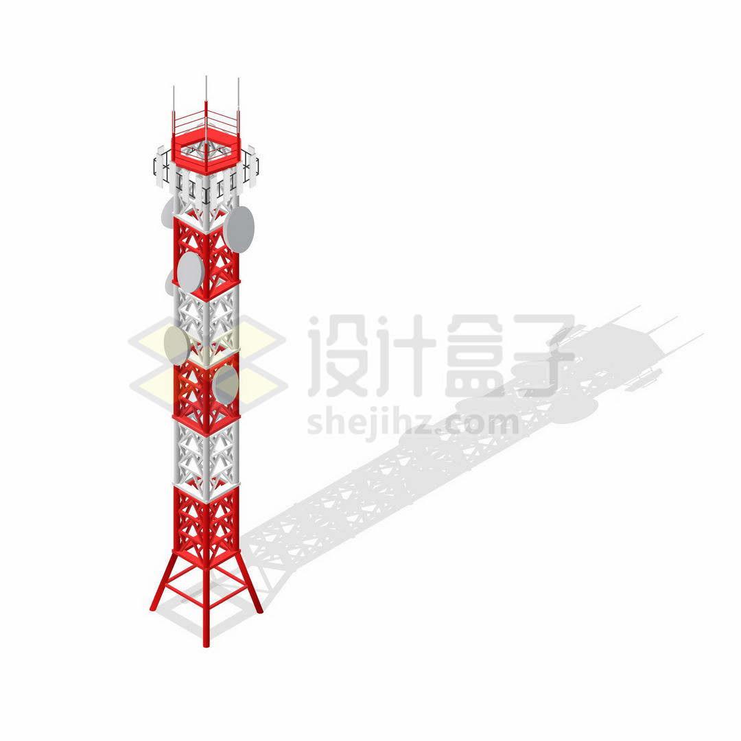 2.5D风格的红白色移动信号发射塔4764446矢量图片免抠素材