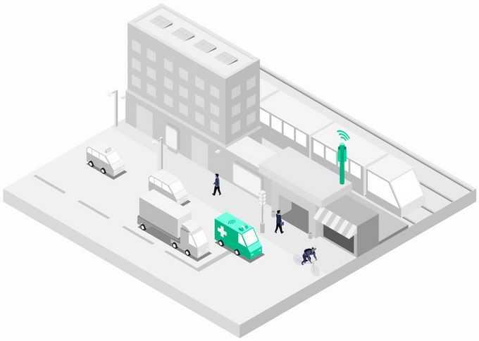 2.5D风格银灰色的城市街景模型和救护车以及5G技术的应用3613136png图片素材