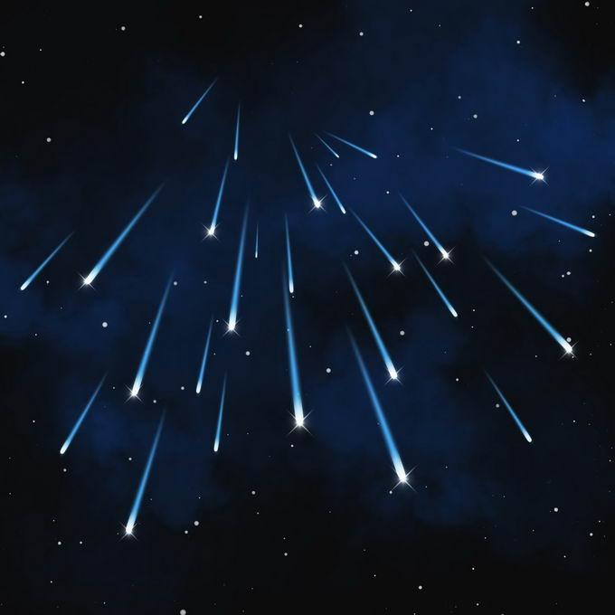 夜晚星空中的蓝色星轨流星效果快速飞行的光效果3614509图片免抠素材免费下载 效果元素-第1张