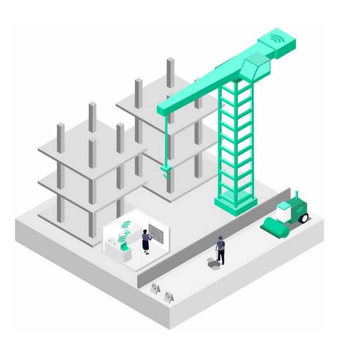 2.5D风格银灰色的建筑工地模型和5G技术在建筑行业的应用1850250png图片素材