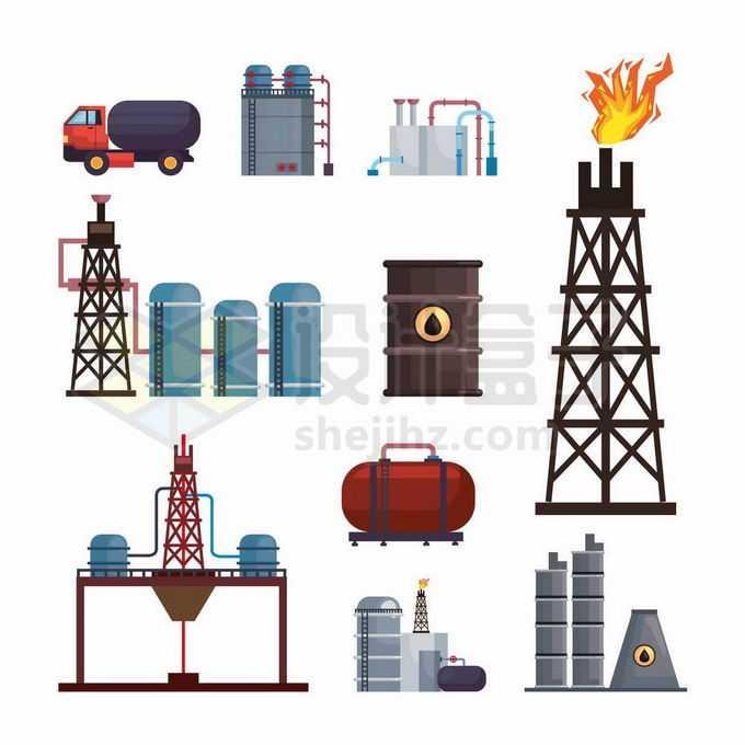 油罐车储油罐油桶化工厂石油开采炼制工业设施4164946矢量图片免抠素材