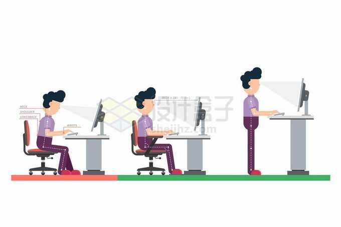 办公室正确和错误的坐姿对比1863807矢量图片免抠素材